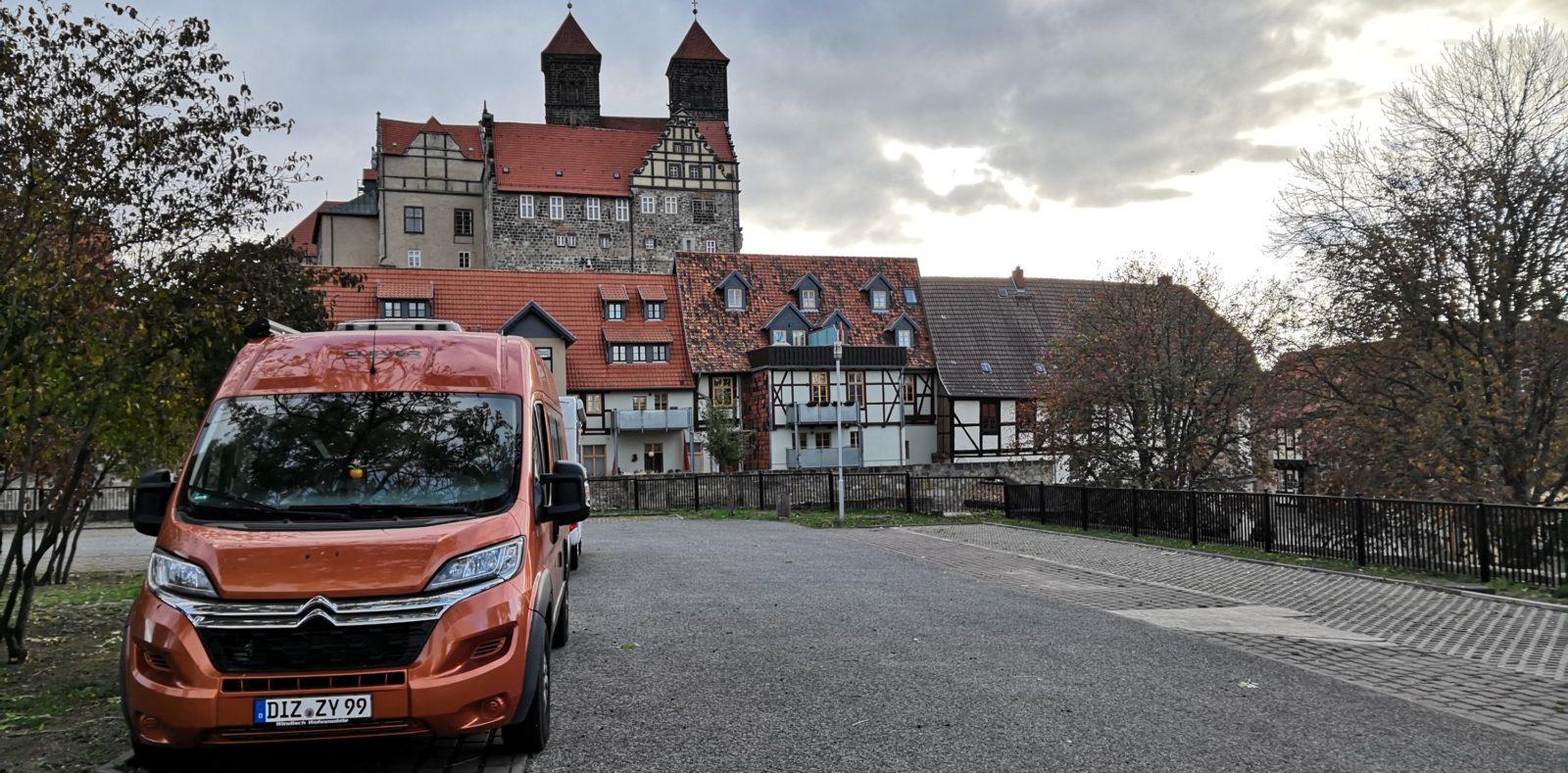 Auf dem Wohnmobilstellplatz am Schloss Quedlinburg